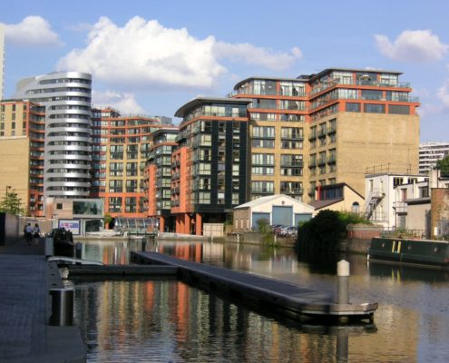 Invest in Paddington in 2018 - view of Paddington Basin with narrowboats