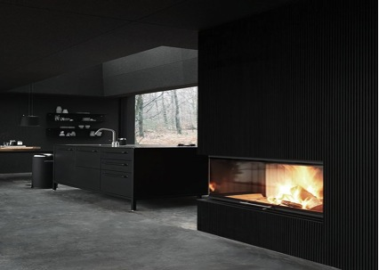 Interior design trends black- black kitchen, fireplace and walls
