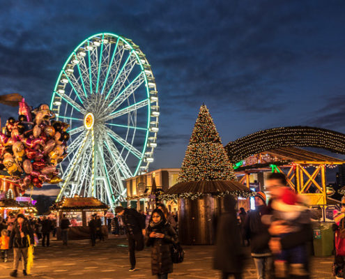 best Christmas events in Kensington and Chelsea - Winter Wonderland Hyde Park at night