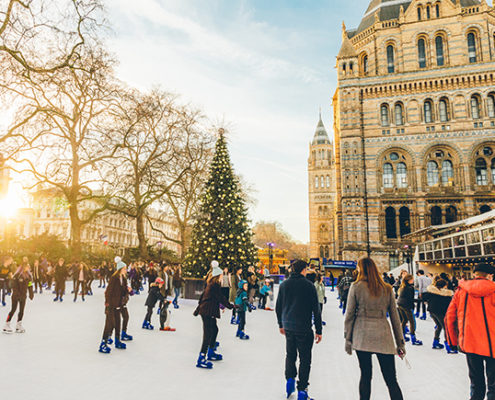 best Christmas events in Kensington and Chelsea - Ice Skaters at the Natural History Museum